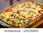 Stock photo casserole with zucchini tomato and beans in a glass baking dish 155250407
