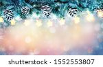 christmas background with snowy ... | Shutterstock . vector #1552553807