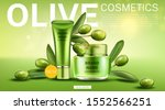 olive cosmetics tube and cream... | Shutterstock .eps vector #1552566251