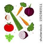 illustration of some vegetables ... | Shutterstock .eps vector #1552585511