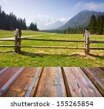 mountains landscape with wooden ... | Shutterstock . vector #155265854