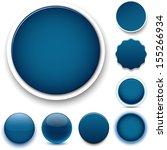 Set Of Blank Dark Blue Round...