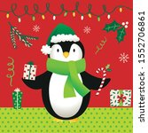 cute penguin and christmas... | Shutterstock .eps vector #1552706861