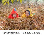 Children Lie In The Leaves In...