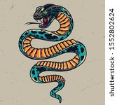poisonous snake colorful tattoo ... | Shutterstock .eps vector #1552802624