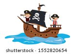 Cartoon kids playing pirate in the ship.Wooden corsair ship at sea. Funny children and sailboat isolated on white background. Flat vector illustration