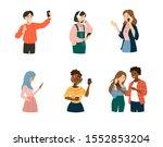 young people using smartphones  ... | Shutterstock .eps vector #1552853204
