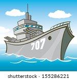 battleship in water with guns... | Shutterstock .eps vector #155286221