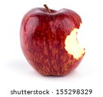 red bitten apple isolated on... | Shutterstock . vector #155298329
