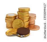 Chocolate Coins Isolated On...