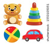toys set for kids. toy car.... | Shutterstock .eps vector #1553105051