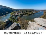 An ultra-wide angle view of Harpers Ferry, West Virginia, from Maryland Heights.