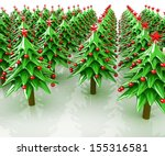 christmas trees on a white... | Shutterstock . vector #155316581