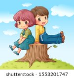 a boy and a girl sitting on a... | Shutterstock .eps vector #1553201747