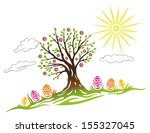 colorful easter illustration ... | Shutterstock .eps vector #155327045