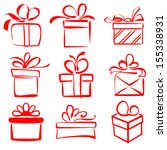 gift boxes icon set sketch... | Shutterstock .eps vector #155338931