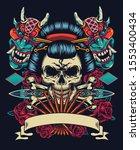 vintage japanese tattoo style... | Shutterstock .eps vector #1553400434