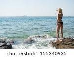 observing sea horizon | Shutterstock . vector #155340935