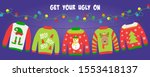 ugly sweater party banner ... | Shutterstock .eps vector #1553418137