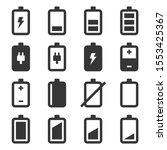 battery icons set on white...   Shutterstock .eps vector #1553425367