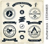 halloween party labels and... | Shutterstock .eps vector #155344805