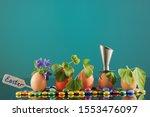 five organic seedling plants in ... | Shutterstock . vector #1553476097