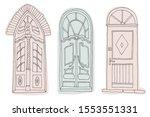 set of vintage vector doors.... | Shutterstock .eps vector #1553551331