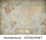 Blue Vintage World Map...