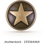 Bronze Star Symbol On Isolated...