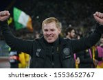 Small photo of Rome, Italy - November 07,2019: Neil Lennon (Celtic Glasgow) CELEBRATES VICTORY AT END of the Uefa Europa League Group E soccer match between SS Lazio and Celtic Glasgow, at Olympic Stadium in Rome.