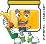 fresh jam in jar cartoon... | Shutterstock .eps vector #1553665394