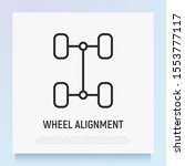 wheel alignment thin line icon. ... | Shutterstock .eps vector #1553777117