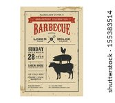 vintage barbecue invitation... | Shutterstock .eps vector #155383514