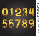 gold numbers from zero to nine... | Shutterstock .eps vector #1553884391