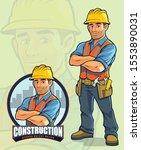 construction worker mascot... | Shutterstock .eps vector #1553890031