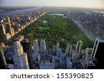 Stock photo central park aerial view manhattan new york park is surrounded by skyscraper 155390825