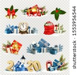 big set of christmas and new... | Shutterstock .eps vector #1553956544