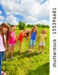 large group of happy girls play ... | Shutterstock . vector #155396681