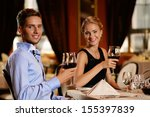 beautiful young couple with... | Shutterstock . vector #155397839