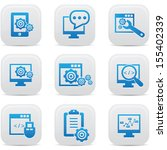 seo icons on button blue... | Shutterstock .eps vector #155402339