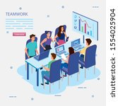 work team group in meeting and... | Shutterstock .eps vector #1554025904