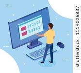 business man with desktop... | Shutterstock .eps vector #1554026837