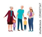grandparents with grandchildren ... | Shutterstock .eps vector #1554027167