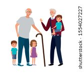 group of grandparents with... | Shutterstock .eps vector #1554027227