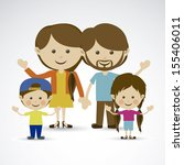 happy family over gray... | Shutterstock .eps vector #155406011