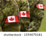 Flag of canada on military...