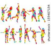set of children silhouettes in...   Shutterstock . vector #155407154