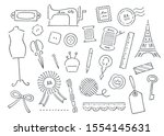 hand drawn antique sewing set | Shutterstock .eps vector #1554145631