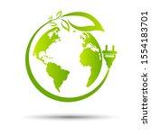 green eco power plug design...   Shutterstock .eps vector #1554183701