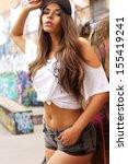 young beautiful girl fashion... | Shutterstock . vector #155419241